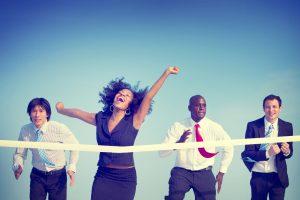 Business Woman Winning Race Concept